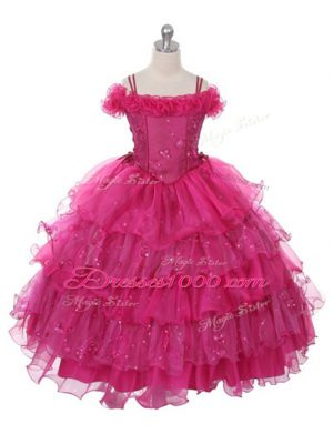 Ball Gowns Kids Pageant Dress Fuchsia Off The Shoulder Organza Sleeveless Floor Length Lace Up