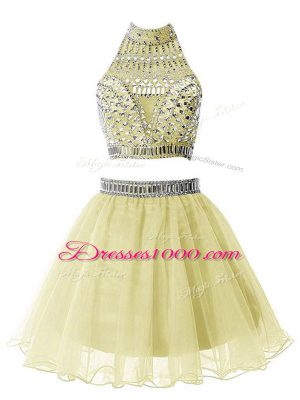 Sumptuous Knee Length Yellow Wedding Guest Dresses Organza Sleeveless Beading