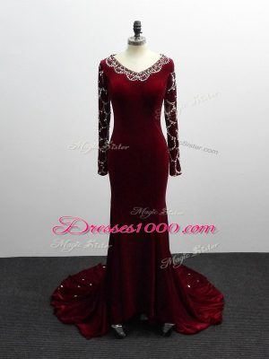 Edgy Burgundy Zipper Mother Dresses Beading Long Sleeves Brush Train