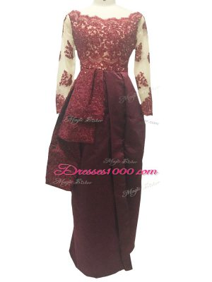 Burgundy Zipper Scalloped Lace and Appliques Mother Dresses Taffeta Long Sleeves