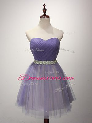 Popular Mini Length Lavender Wedding Party Dress Tulle Sleeveless Beading and Ruching