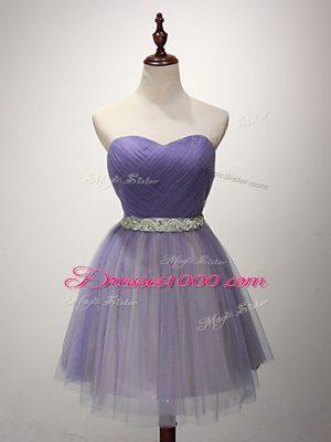 Popular Mini Length Lavender Wedding Party Dress Tulle Sleeveless Beading and Ruching