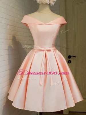Excellent Belt Bridesmaid Dress Peach Lace Up Cap Sleeves Knee Length