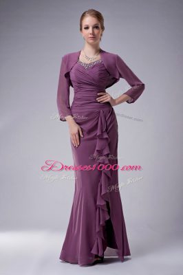 Beautiful Purple Sleeveless Beading Floor Length Mother of Groom Dress