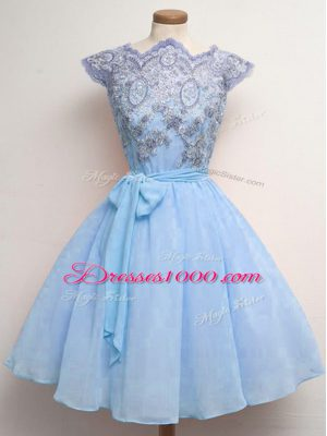 Knee Length Blue Wedding Guest Dresses Chiffon Cap Sleeves Lace and Belt