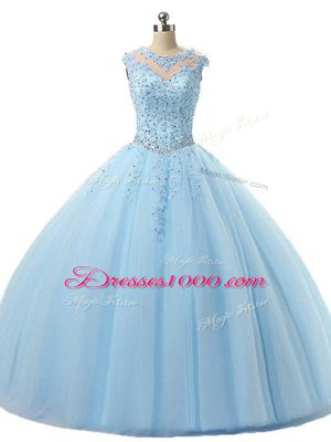 Comfortable Light Blue Lace Up Scoop Beading and Lace Quince Ball Gowns Tulle Sleeveless