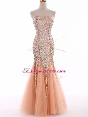 Sweetheart Sleeveless Evening Dress Floor Length Sequins Peach Tulle