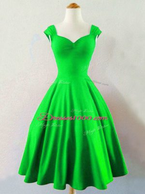 Romantic Sleeveless Knee Length Ruching Lace Up Court Dresses for Sweet 16 with