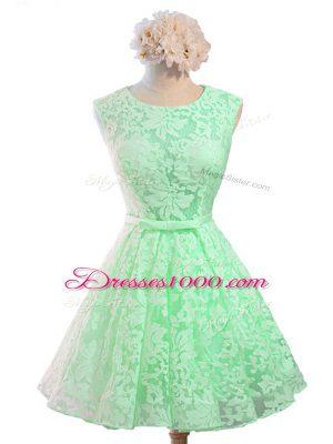 Sleeveless Lace Up Knee Length Belt Bridesmaid Dresses
