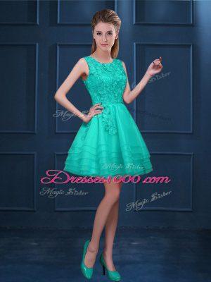 Elegant Knee Length Turquoise Damas Dress Tulle Sleeveless Lace and Ruffled Layers