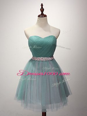 Cute Sweetheart Sleeveless Lace Up Quinceanera Court of Honor Dress Green Tulle