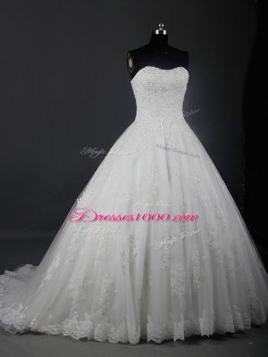 Excellent Tulle Strapless Sleeveless Brush Train Lace Up Beading and Lace Wedding Gown in White
