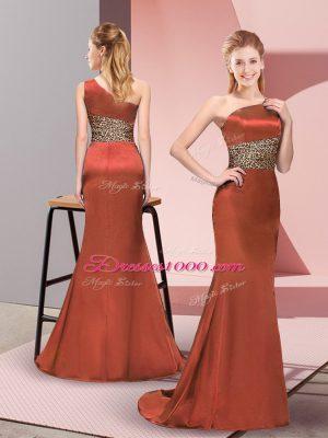 Wonderful Floor Length Rust Red Dress for Prom One Shoulder Sleeveless Side Zipper