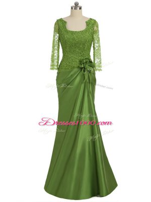 Column/Sheath Mother of the Bride Dress Olive Green Scoop Elastic Woven Satin Long Sleeves Floor Length Zipper