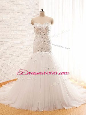 White Sleeveless Brush Train Beading and Appliques Wedding Gowns