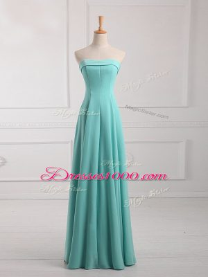 Classical Aqua Blue Empire Chiffon Strapless Sleeveless Ruching Floor Length Lace Up Dama Dress
