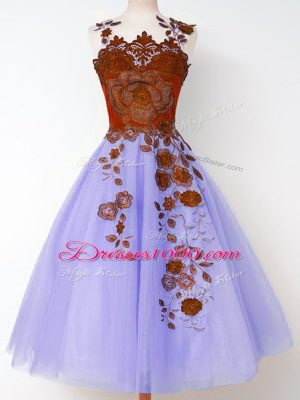 Fine Tulle Straps Sleeveless Lace Up Appliques Wedding Party Dress in Lavender