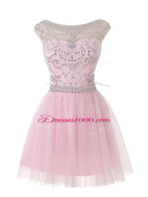 Baby Pink Tulle Zipper Scoop Sleeveless Mini Length Prom Dress Beading