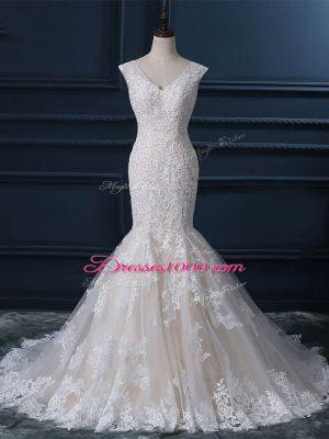 Exceptional V-neck Sleeveless Brush Train Zipper Wedding Gown White Tulle