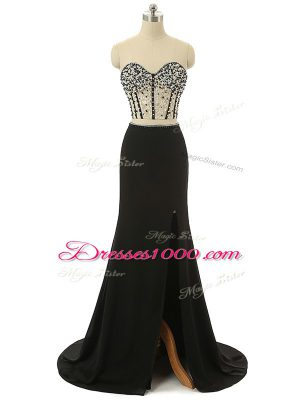 Wonderful Sweetheart Sleeveless Brush Train Zipper Prom Dresses Black Elastic Woven Satin