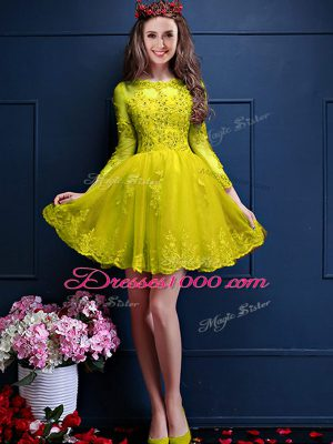 Scalloped 3 4 Length Sleeve Lace Up Wedding Party Dress Yellow Chiffon
