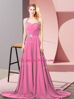 Romantic Pink Zipper Halter Top Beading and Ruching Juniors Evening Dress Chiffon Sleeveless Brush Train
