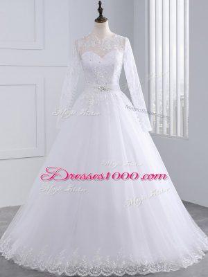 Exceptional White Scalloped Zipper Lace And Appliques Wedding Gowns Brush Train Long Sleeves