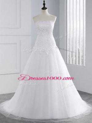 Hot Sale Strapless Sleeveless Brush Train Lace Up Wedding Gown White Tulle
