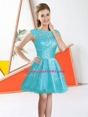Bateau Sleeveless Backless Dama Dress Aqua Blue Organza
