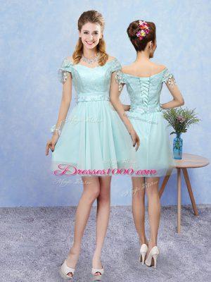 A-line Dama Dress Aqua Blue V-neck Tulle Short Sleeves Mini Length Lace Up