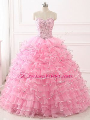Fine Sweep Train Ball Gowns Quinceanera Gowns Baby Pink Sweetheart Organza Sleeveless Lace Up