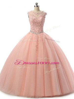 Peach Ball Gowns Beading and Lace Quinceanera Gowns Lace Up Tulle Sleeveless Floor Length