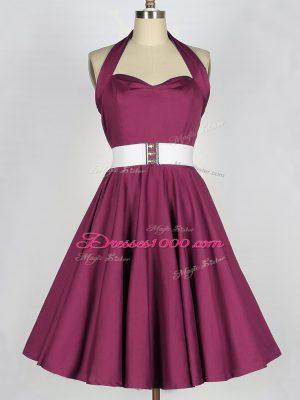 Sleeveless Belt Lace Up Bridesmaid Dress