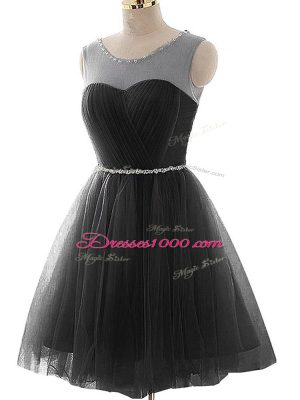 Amazing Black Sleeveless Mini Length Beading and Ruching Lace Up Dress for Prom