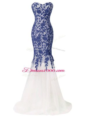 Blue And White Lace Up Sweetheart Lace and Appliques Evening Party Dresses Tulle Sleeveless Brush Train