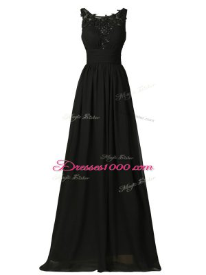 Captivating Black Chiffon Zipper Court Dresses for Sweet 16 Sleeveless Floor Length Appliques