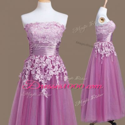 Lilac Sleeveless Tulle Lace Up Bridesmaid Dresses for Prom and Party and Wedding Party