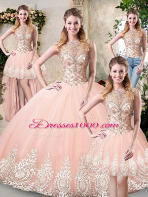 Admirable Peach Sleeveless Tulle Backless Vestidos de Quinceanera for Prom and Military Ball and Sweet 16 and Quinceanera