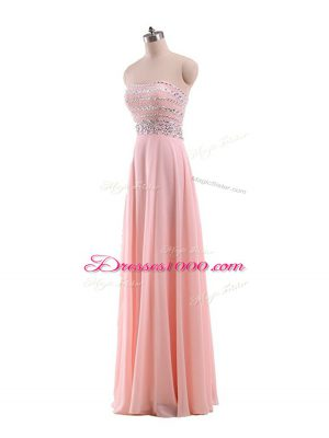 Strapless Sleeveless Prom Gown Floor Length Beading Pink Chiffon