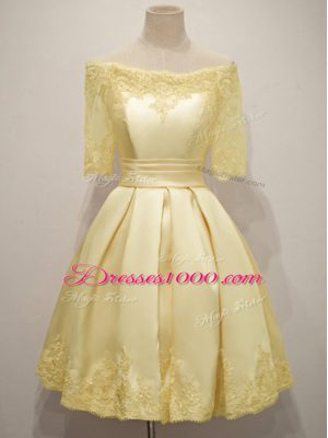 Spectacular Yellow Taffeta Lace Up Off The Shoulder Half Sleeves Knee Length Bridesmaid Gown Lace