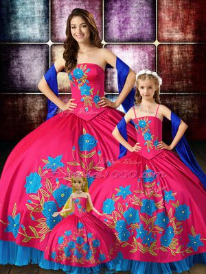 Romantic Hot Pink Sleeveless Embroidery Floor Length Quinceanera Gowns