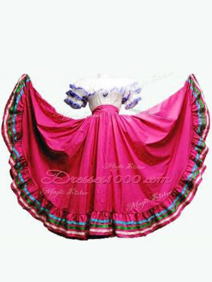 Flirting Hot Pink Ball Gowns Taffeta Off The Shoulder Short Sleeves Ruffled Layers Floor Length Lace Up Sweet 16 Dresses