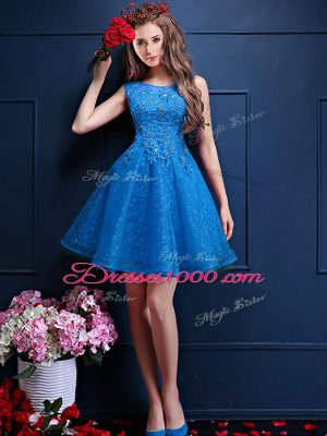 Custom Design Sleeveless Tulle Knee Length Lace Up Bridesmaid Dresses in Blue with Beading and Lace