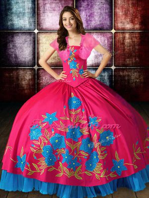 Amazing Hot Pink Strapless Lace Up Embroidery Sweet 16 Quinceanera Dress Sleeveless