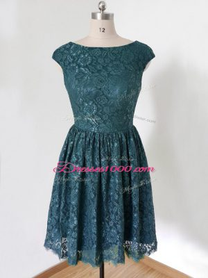 Modern Knee Length Empire Cap Sleeves Teal Quinceanera Court Dresses Lace Up