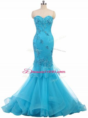 Sweetheart Sleeveless Pageant Dress Brush Train Appliques Aqua Blue Tulle