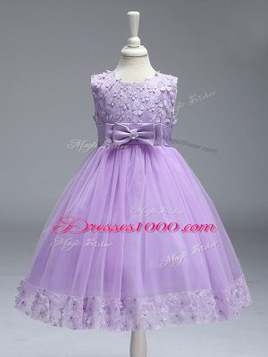 Excellent Lavender Zipper Kids Formal Wear Lace and Bowknot Sleeveless Knee Length
