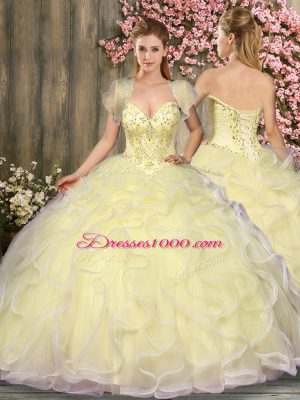 Floor Length Light Yellow Quinceanera Gown Sweetheart Sleeveless Lace Up