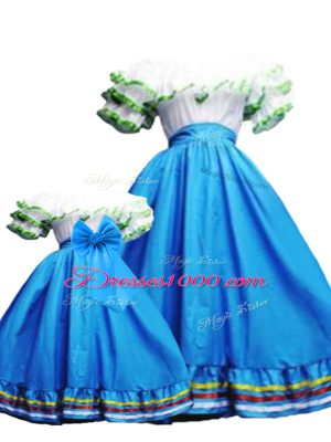 Edgy Baby Blue Lace Up Sweet 16 Quinceanera Dress Ruffled Layers Sleeveless Floor Length