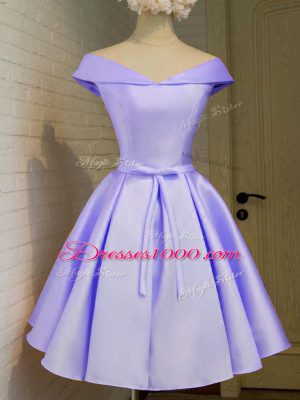 Simple Lavender Cap Sleeves Knee Length Belt Lace Up Bridesmaid Dresses